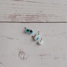 31-106 - Глаза стеклянные, голубые, крейзики, 6 мм