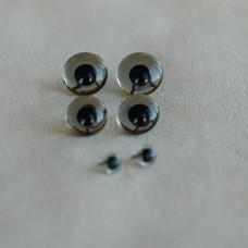 B-07 - Глаза стеклянные для тедди, дымчатые - 10 мм