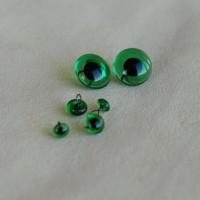 B-09 - Глаза стеклянные для тедди, зеленые НА ПРОВОЛОКЕ -5 мм