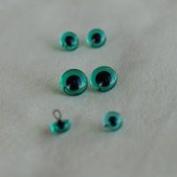 B-10 - Глаза стеклянные для тедди, бирюзовые НА ПРОВОЛОКЕ - 5 мм
