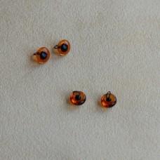 B-01 - Глаза стеклянные для тедди, янтарные - 4 мм