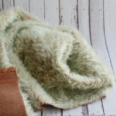144-3125 - Прореженный мохер для тедди антик - мятный на коричневой основе