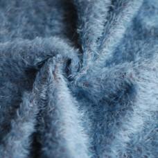 144-3126 - Прореженный мохер для тедди антик - синий на коричневой основе