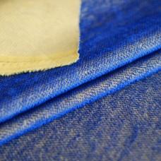HM-086 - Яркий контрастный мохер-щетка, синий ворс на желтой основе
